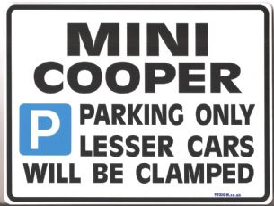 Mini Cooper Gift | Parking Sign